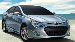 The gas-electric Sonata may be the best-looking hybrid sedan out there. This is a loaded $32,000 Limited model. Hyundai photo