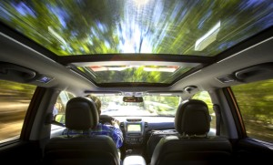 The panoramic sunroof option adds a feeling of spaciousness to the rear of the 2014 Sorento (but acceleration isn't quite up to warp drive levels). Kia photo