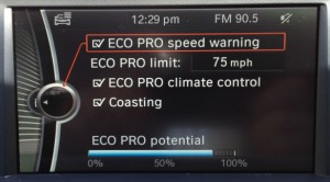 This is the computer screen when the 428i's Driving Dynamics Control is in ECO PRO, which radically alters the behavior of the car. By limiting the speed to 75, enabling coast-down and restricting the climate control, the car is allegedly reaching 80 percent of its maximum efficiency.