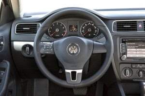 Keyless ignition, Bluetooth, heated front seats and wing mirrors, cruise, a semi-smart (controls only on one spoke) leather-wrapped wheel, a touchscreen (for the AM/FM/satellite stereo) and, in this case, a 6-speed automatic transmission—the Jetta SE w/Connectivity & Sunroof is fairly well equipped. VW