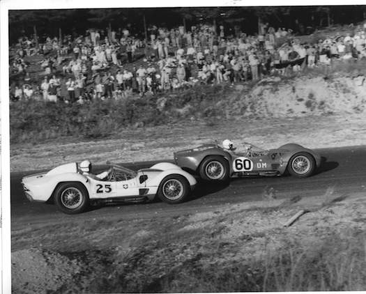 "Gaston Andrey pilots the number 25 Maserati Tipo 61 ""Birdcage"" at Thompson Raceway circa 1961."