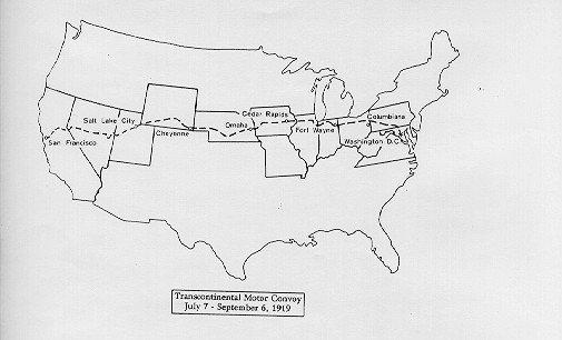 1919 map transcontinental road train