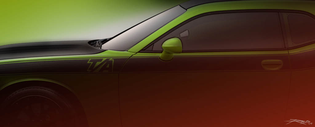 A sneak peak at the Dodge Challenger T/A Concept that will be am