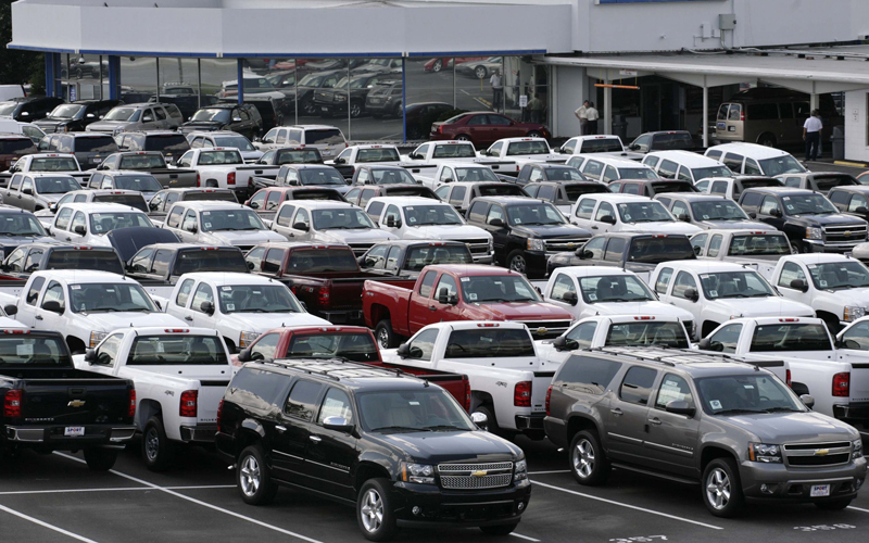Chevrolet pickup trucks and SUVs are seen at a dealership in Silver Spring, Maryland