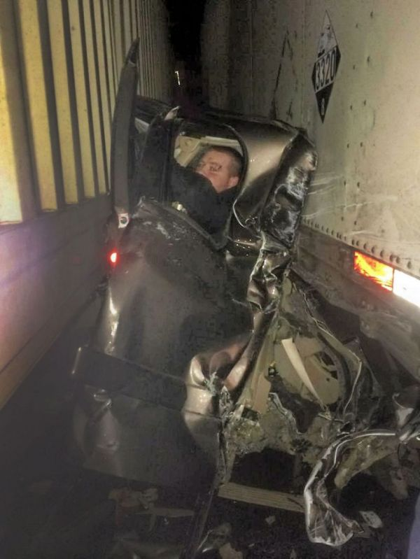 Chevy Silverado Guy >> Chevrolet Silverado Squashed By Two Semis Driver Walks Away