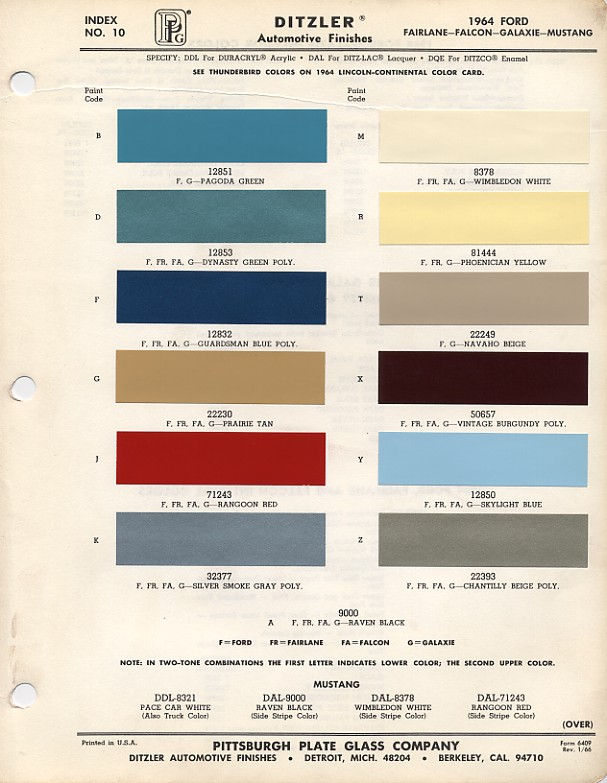 1964mustangcolorcodes