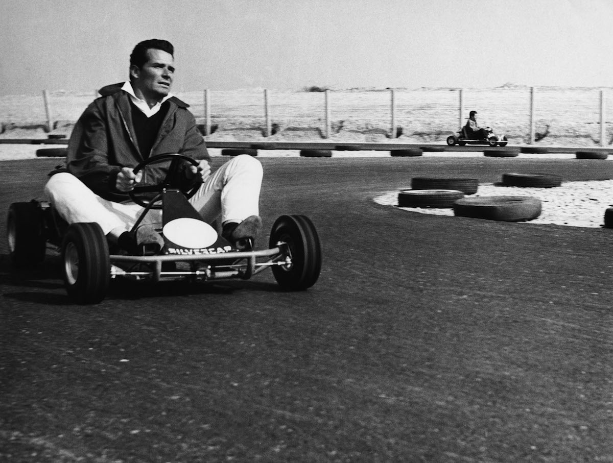 Garner, James, * 7.4.1928, American actor, half length, sitting in Kart racing car, 1960s, Go-Kart, Go, Kart, karting,