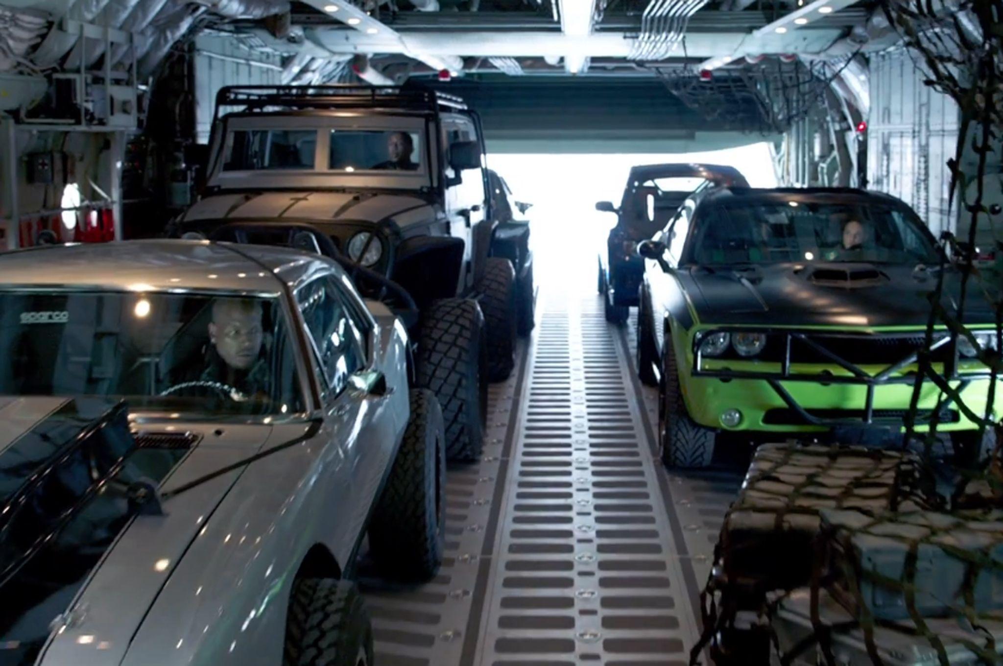 parachuting cars in furious 7 trailer screen shot - Fast And Furious 7 Cars