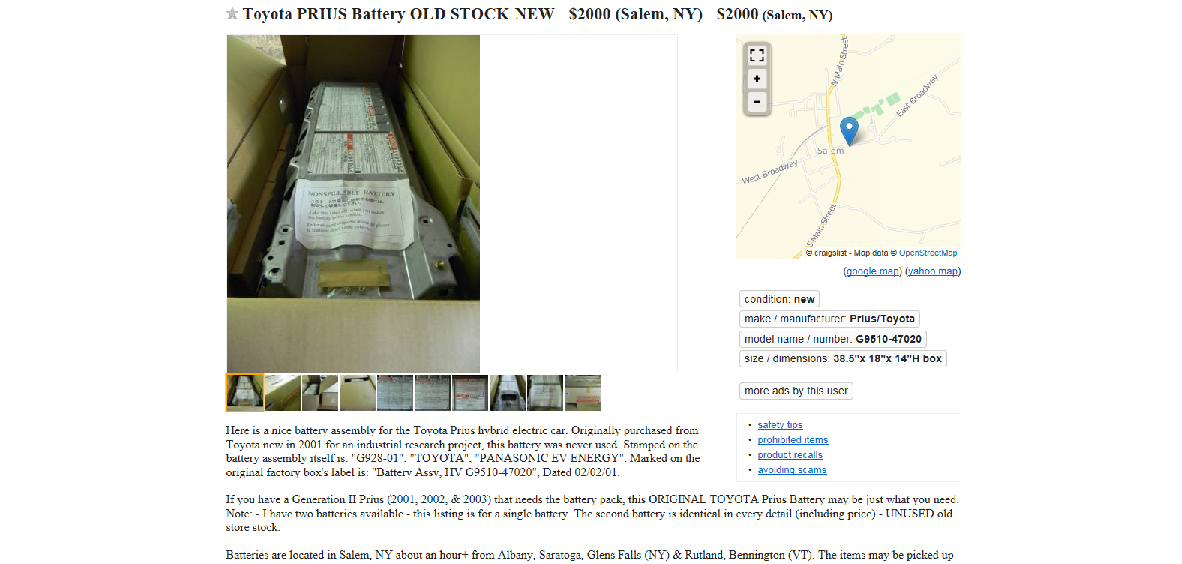Craigslist prius battery