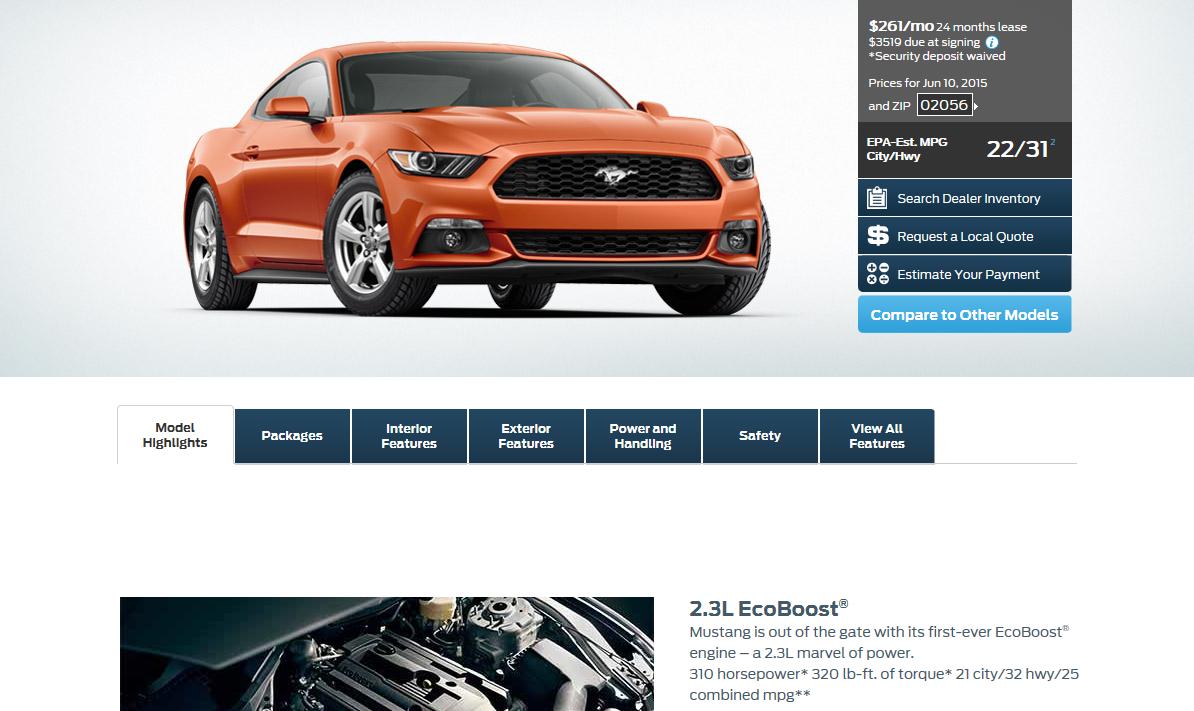 Mustang 2.3 advert