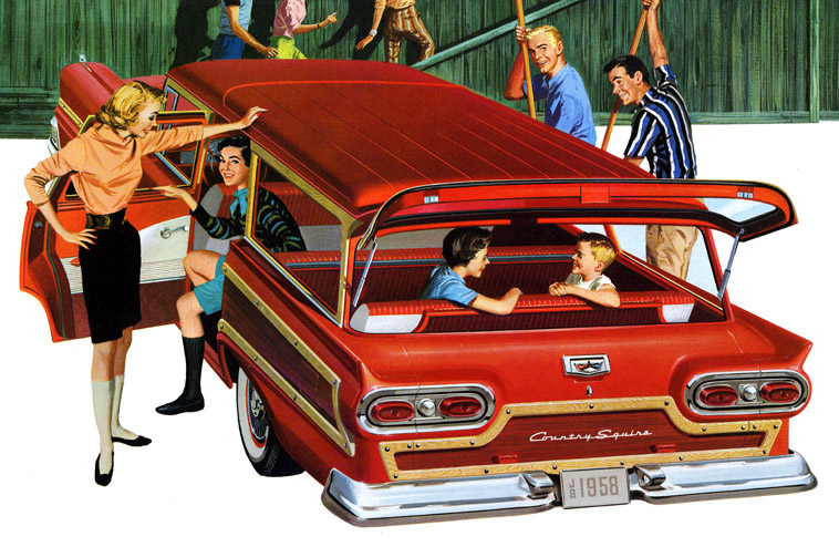 Thanksgiving Station Wagons - Ford Country Squire - Front facing 1958