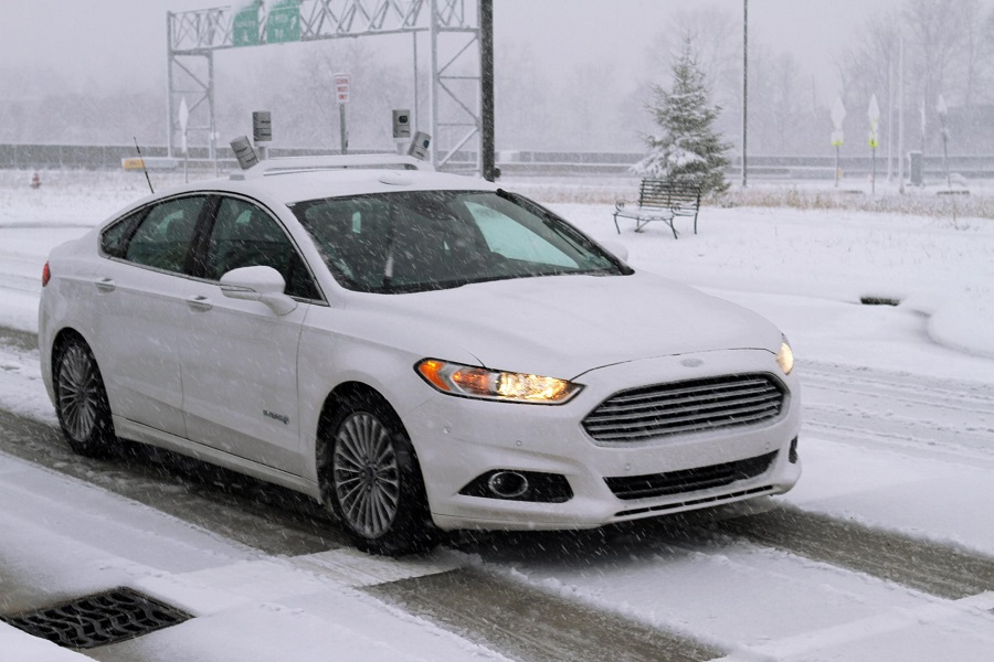 ford autonomous car snow