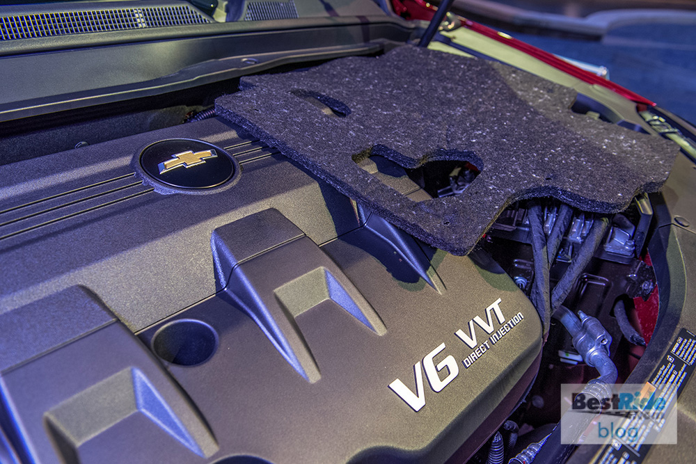 This fabric insulation, set on top of the engine as a demonstration, is made from water bottles collected from various GM facilities. The material sits beneath the nylon engine cover to further dampen engine noise. (Photo by Santa Fabio for General Motors)