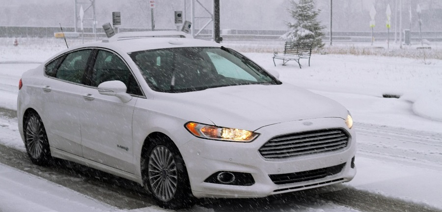 ford autonomous car snow crop
