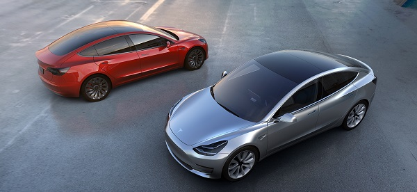 model 3 tesla image - 2 cars from press kit