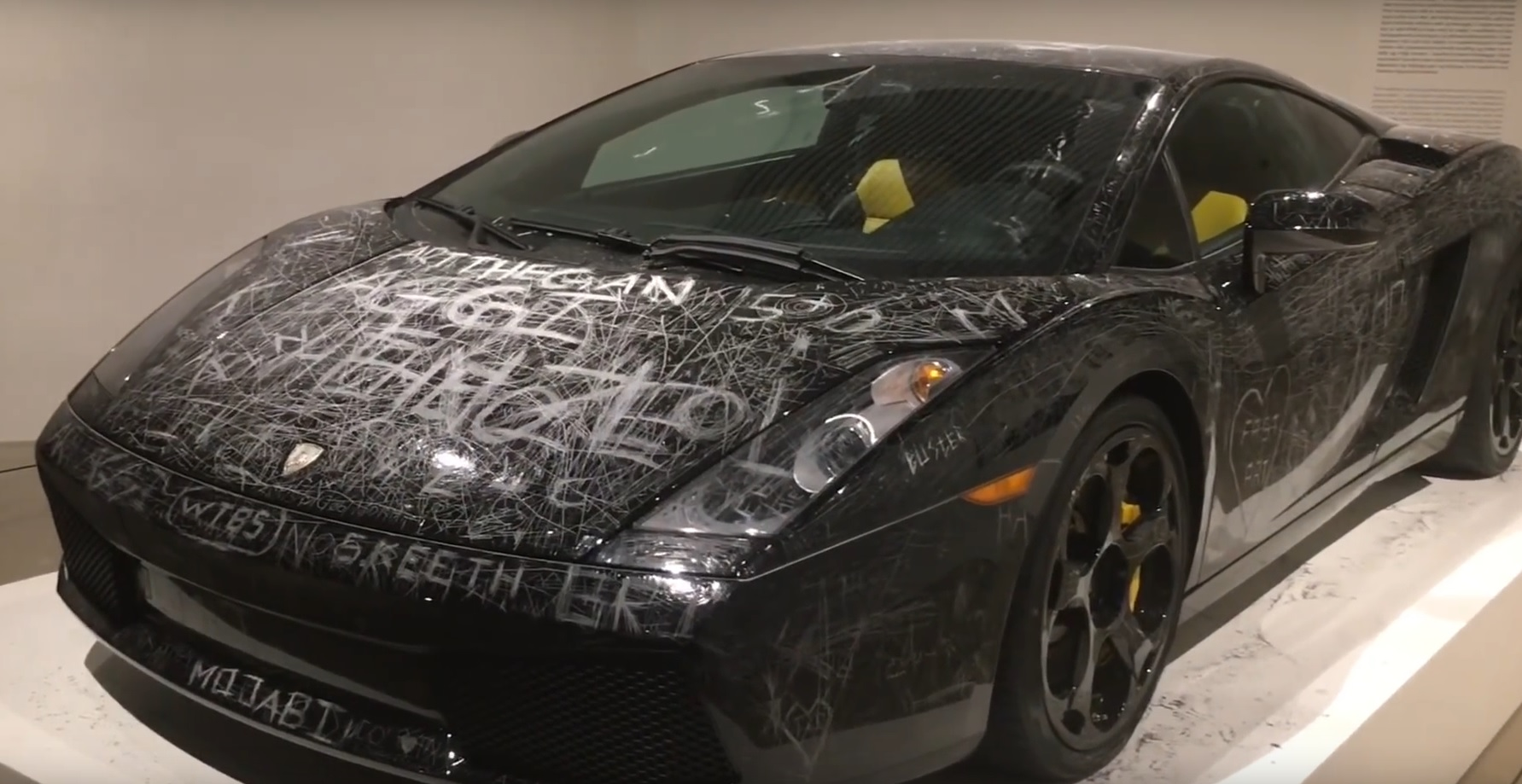 Video This Scratched Up Lamborghini Gallardo Is Now A Work Of Art