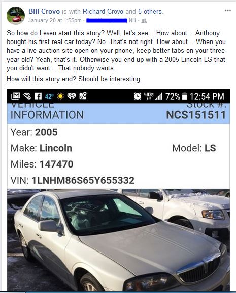 Capital Auto Auction >> Three Year Old Buys A Lincoln Ls At An Online Auction Bestride